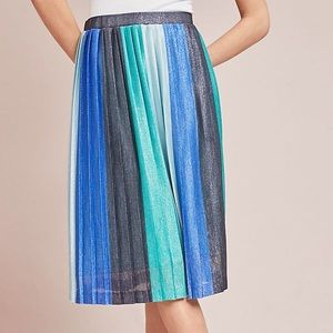 Maeve for Anthro Sunburst Pleated Midi Skirt